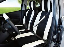 UNNIE UNIVERSAL WHITE/BLACK FRONT SEAT COVERS STEERING WHEEL & 2SEAT BELT COVERS