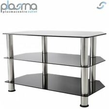 """AVF SDC800 Universal Black Glass Chrome Legs TV Stand for up to 40"""" TVS"""