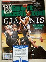 Milwaukee Bucks GIANNIS ANTETOKOUNMPO Signed Sports Illustrated SI BECKETT