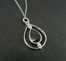 SU Eaarings Black Onyx Stone Swivels Sterling Silver 925 Pendant NECKLACE