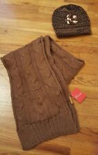 Peru Alpaca Knit Child Children Kids Beanie Hat & Scarf w/Pocket Brown Tan Cream