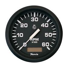 "Faria Euro Black 4"" Tachometer w/Hourmeter - 6,000 RPM (Gas - Inboard)"