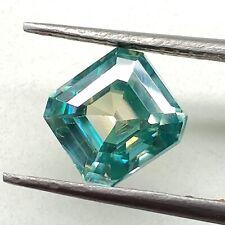 Blue Color Loose Moissanite 4 Ring/Pendant 2.52 Ct 7.33x 7.00 mm/Vs1 Asscher Cut