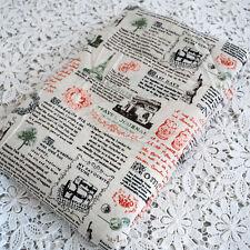 1 metro de algodón mezcla lino Tela Artesanal-Paris Viaje Diario Noticias Muñeca Rusa