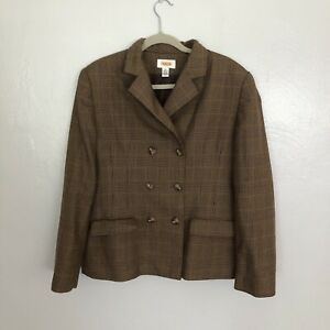 talbots brown glen plaid double breasted wool blazer size 14