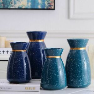 Space Dust Ceramic Vase Home Decor Navy Teal Golden Neck Tablecut Decoration