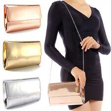 Women's  Ladies'Metallic Mirror effect Clutch Bag Party Prom Handbag Purse