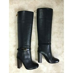 Tory Burch Leather Block-Heel Knee Boots Black, US 5 M