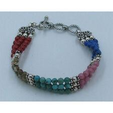 QVC Sterling Silver Multi-stone Turquoise Lapis Coral Triple Strand Bracelet