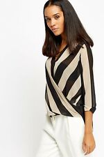 Womens Office Mono Black White Wrap Top Striped Long Sleeve Check Plunge Blouse