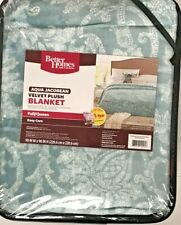 Better Homes And Gardens Aqua Jacobean Velvet Plush Blanket, Queen, NOS