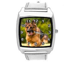 GERMAN SHEPHERD PUPPY DOG OWCZAREK Schäferhund SILVER LEATHER QUARTZ STEEL WATCH
