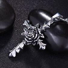 Unisex's Men Women Silver Stainless Steel Rose Cross Necklace Pendant Chain Gift