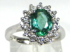 Emerald Ring 14K White gold African color Halo Natural Heirloom App. $4,838