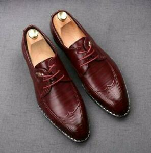 British Mens Pointed Toe Lace Up Leather Dress Formal Oxfords Wedding Shoes 0401