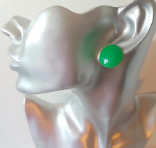 100% PLASTIC 20mm shiny flat button style stud earrings - 12 FAB colour options