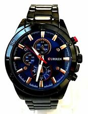 Mens Dress Watch Curren M8275 Black Metal Band and Dial, Mens Casual Watch 1ATM