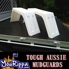 2 x White UTE TRAY TOP MUDGUARDS POLY PLASTIC TRUCK 4X4 4WD  FITS ALL TRAYS NEW