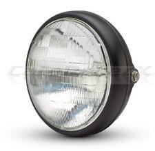 "Motorcycle Headlight 7"" Shorty Matte Black Metal Side Mount 12v 55w Sealed Beam"