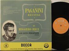 """Decca LXT 2808 Ruggiero Ricci, violin, """"Paganini Recital"""", L. Persinger, piano"""