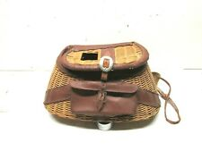 Vintage Wicker And Leather Fishing Creel.