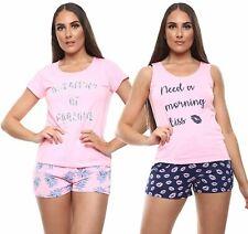 Womens Pyjamas Set Sleeveless Nightwear Print Vest Top Pajama Pants Bottom Short