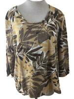 Caribbean Joe knit top size XL brown tan Hawaiian print 3/4 sleeve