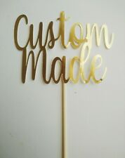 Personalised Birthday Cake Topper Sign Any Name Word Colour Glitter Mirror Gold