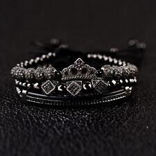3Pcs/set Women Men Black Zircon Crown Bead Macrame Queen King Charm Bracelet Set