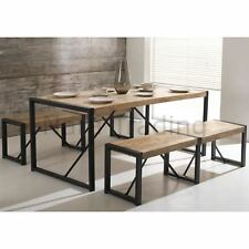 Harbour Indian Reclaimed Wood Furniture Dining Table With Two Large Benches Set