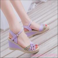 New Women's High Platform Shoes Black Purple Blue Wedges Buckle Sandals Size AUB