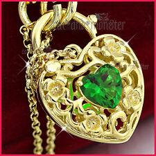 18K GOLD GF GREEN EMERALD FILIGREE BELCHER CHAIN HEART PADLOCK BANGLE BRACELET