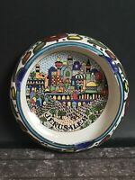 Amazing Souvenir Cermic Ashtray With Great Painting Of Jerusalem Colorful 4.5""