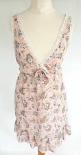 NEW LOOK PALE PINK&BLUE CREAM LACE TRIM FLORAL V-NECK SLEEVELESS DRESS SIZE 12