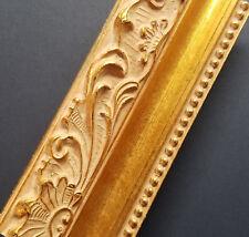 "CUSTOM CUT 2 1/4"" WIDE Light Gold Ornate Wood Picture Frame Moulding"