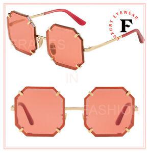 DOLCE & GABBANA GEM Stone 2216 Gold Red Octagonal Geometric Sunglasses DG2216