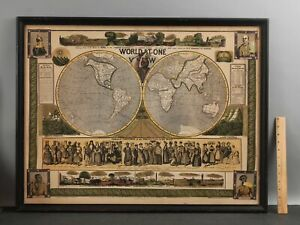 RARE 1847 Antique Humphrey Phelps WORLD AT ONE VIEW Pictorial Lithograph Map NR