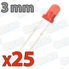 25x LED 3mm ROJO DIFUSO 20mA diodo diode diffuse red