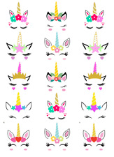 Unicorn Head Ears Horn Cupcake Toppers Edible Tranches Paper Fairy Cake Topper