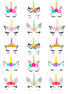 Unicorn Head Ears Horn Cupcake Toppers Edible Wafer Paper Fairy Cake Topper