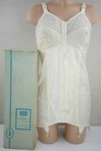 SASSY VINTAGE SEARS ZIPPERED ALL-IN-ONE GIRDLE BRA CORSELETTE 6 GRTS NOS BOX 42C