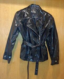 Big Chill PVC Polyurethane Rain Slicker Jacket SHINY BLACK - Size LARGE