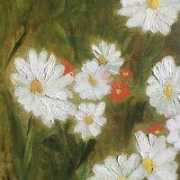 Daisies Mid Century Painting Signed Wild Flower Meadow Wood Frame 1972 Vintage