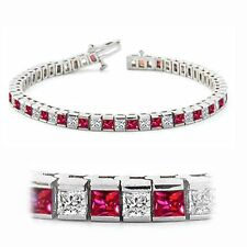 4.53 Carats Princess Cut Diamonds Ruby Tennis Bracelet In Fine Hallmark 14K Gold