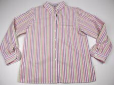 Foxcroft Shirt Size 12 Multi Color Stripe Wrinkle Free Classic Fit Long Sleeve