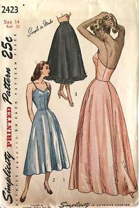Simplicity Vintage 1940s Sewing Pattern 2423 Womens Petticoat Half Slip Size 14