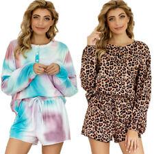 Women Pajamas Pj Set Tie Dye Leopard Long Sleeve Top Shorts Tracksuit Loungewear