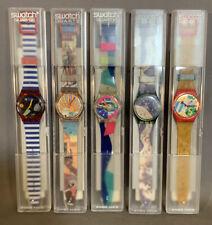 Lot (5) NOS Vintage 1992 Old SWISS Original 90's SWATCH Quartz AG WATCH & CASE