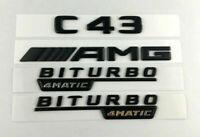 C43 AMG BITURBO 4MATIC Logo noir mat lettres emblème broderie insignes auto NEUF