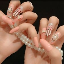 Clear Orange Pink with Ribbon Pearl Bow Finished False Nails 24pcs Z474